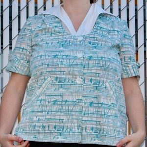 1950s Vintage Baby Blue Collared Shirt